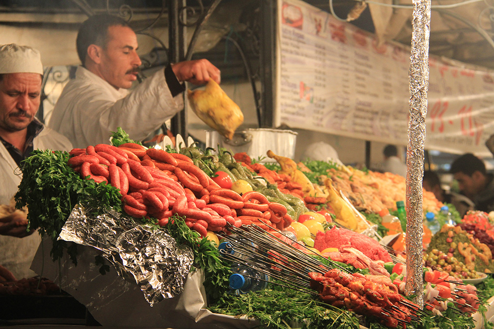 Garküchen auf dem großen Platz in Marrakech